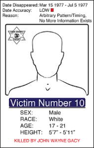 "Victim Number 10, Date Disappeared March 15 1977 - July 5 1977, Date Accuracy Low, Reason: Arbitrary Pattern/Timing No More Information Exists, Male White, Age: 17 - 21 Height: 5'7"" - 5'11"""