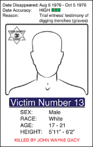 "Victim Number 13: Date Disappeared : Aug 6 1976 - Oct 5 1976, Date Accuracy: High, Reason: Trial wintess' testimony of digging trenches (graves), Male White, Age: 17 - 21, Height: 5'11""-6'2"""
