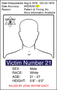 "Victim Number 21, Date Disappeared: Aug 6 1976 - Oct 25 1976, Date Accuracy: Medium, Reason: Pattern & Timing, No More Information Available, Male White, Age: 21 -27, Height: 5'8"" - 6'0"""